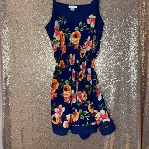 Strappy blue floral romper worn once